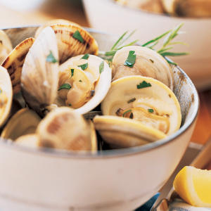 Steamed Clams in wine, butter, garlic broth...