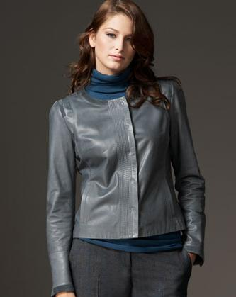 soft gray leather jacket